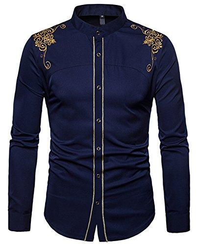 Whatlees Herren Gotik Hemd mit Golden aufgesticktes Design und Stehkragen - B964-navy - M
