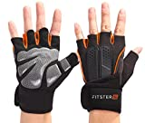 Fitster5 Premium Workout Gloves with Anti-Slip Silica Gel Palm/Wrist Strap for Weightlifting Cross