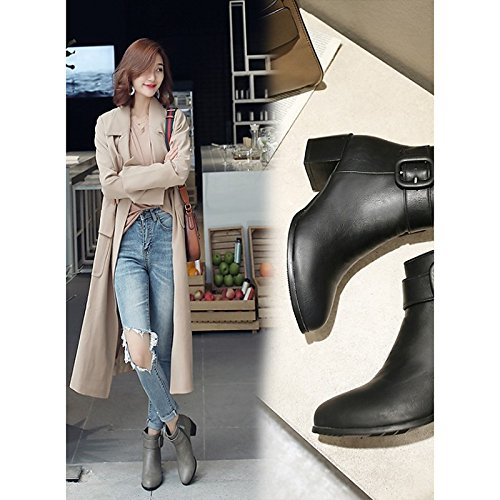 WIKAI Donna Stivali Stivali moda autunno inverno similpelle Office & Carriera Dress Chunky Heel vino grigio nero 2A-2 3/4in,Black,US6 / EU36 / UK4 / CN36 Black