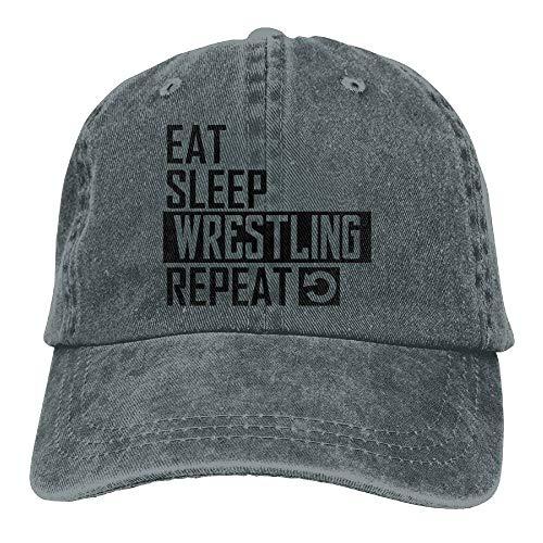 ONGH Essen Sie Schlaf-Wrestling-Wiederholungs-Denim-Hut-justierbare niedliche Baseball-Unisexhüte
