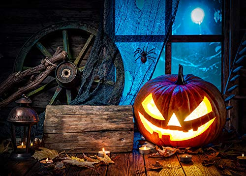 Und Iron Mann Kostüm Silber Rot - Halloween geheimnisvolle Kulisse Black Night Jackolantern Kürbis Haunted Building Horror Foto Requisiten Halloween Party Portrait Tür Photoshoot Booth Spooky Masquerade Decor 3x5FT