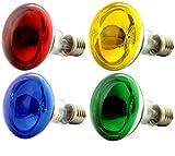 OmniaLaser Bunte Glühbirnen, Spots, E27, 60Watt, 4 Stück