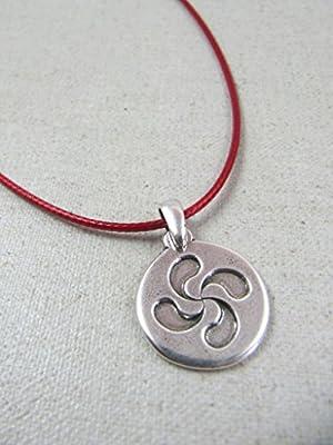 Collier pendentif Lauburu basque 21mm - cordon coton ciré au choix