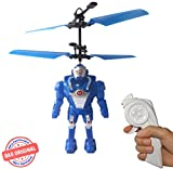 fliegender Robot (blu) Elicottero, Super Eroe di facile controllo con telecomando o per il controllo della mano.Il giocattolo per grandi e piccini.Il Mega divertimento su ogni festa.Gioco di volo, Astronauta, Ufo, Alien