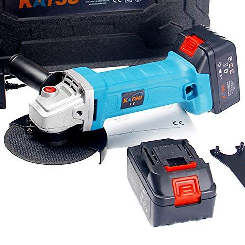 KATSU amoladora angular inalámbrica 21V 4,0 ah baterías gemelas con cargador en caja de herramientas