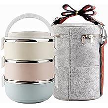 Fiambrera de acero inoxidable, cajas de almacenamiento para oficinas, contenedores para almuerzo envasados al vacío para almuerzos campestres (3 niveles) Set de loncheras