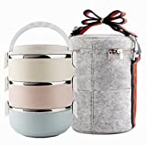 Edelstahl Lunchbox, Büro Aufbewahrungsboxen, Vakuum Isolierte Lunch Container für Picknick (3-Tier) Lunch Box Set
