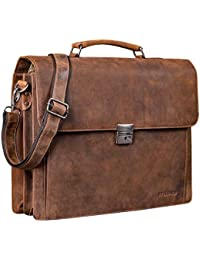 1a79a500ee STILORD  Johann  Classic Leather Briefcase with 15.6 inches Laptop  Compartment Portfolio Men   Women Classic Design Satchel Business…