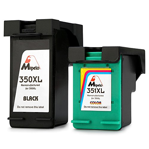 Mipelo Remanufacturado HP 350XL 351XL Cartuchos de tinta (1 Negro, 1 Tricolor) Compatible con Impresora HP Officejet J6410 J6415 J5780, HP Photosmart C4280 C4340 C4380, HP Deskjet D4260 D4360