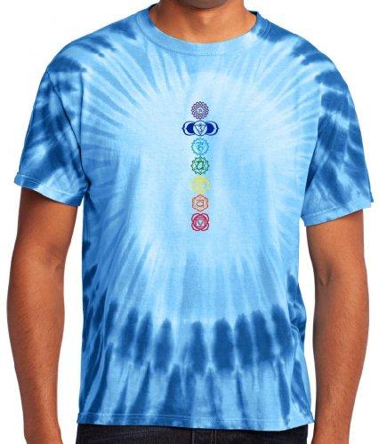 Yoga ropa para usted para hombre 7colores Chakras Tie Dye Tee Camiseta