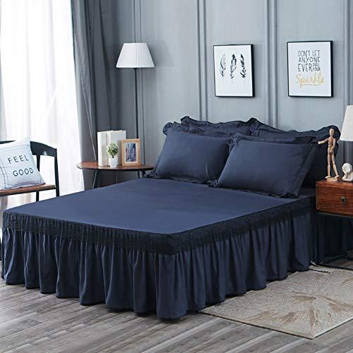 Spitze Bett Rock, Bett Volant Tagesdecke Mit rüschen Faltenresistent und ausbleichen beständig Vervierfachen Falten-Navy blau 180x200cm/71x79inch (Tagesdecke Mit Dem Bett-rock)