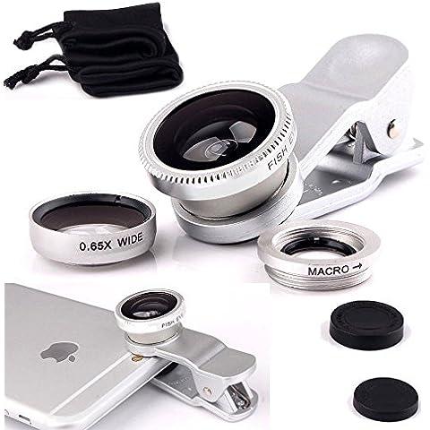 Fone-Case Silver Huawei G9 Plus Clip universale Il 3 in 1 Mobile Phone Camera Lens Kit 180 gradi Fisheye + Macro Lens + obiettivo grandangolare per Android e IOS