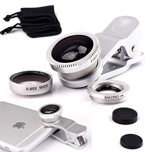 ONX3 XOLO A1010 (Silver) Weit Handy Universalkameraobjektiv 3 in 1 Kit Winkelobjektiv + Fisheye Objektiv + Makroobjektiv mit Clip-on 180 Grad für beide Android und iOS-Geräte -