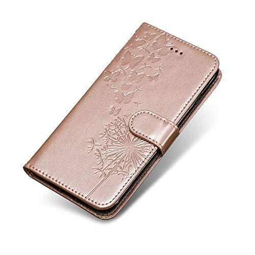 Huawei P20 Hülle, The Grafu® Standfunktion PU Leder Handyhülle mit Weiche Silikon-Innenschale, Kreditkartenfach, Geldbörse Schutzhülle für Huawei P20, Rose Gold #2 1908 Rosen