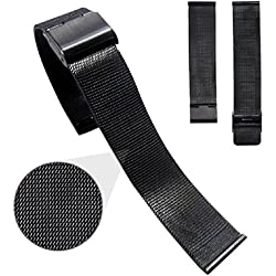 Mallom® Stylish Stainless Steel Watch Band 24mm Watch Strap Black