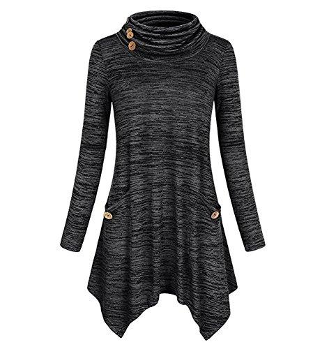 ZhuiKun Femme Tunique Robe Manches Longues T-Shirt Ourlet Irregulier Tee-Shirt Robe Noir Gris