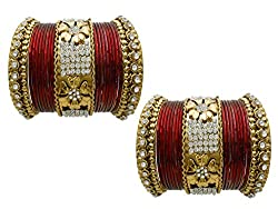 My Design Floral Gold Plated Bridal Chura Red Wedding Chuda Bangles (size-2.4)