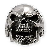Fly Style® Ring mit Totenkopf Zorniger Skull Edelstahl - Biker Motorrad Schmuck Herren - Rocker Schmuck Damen - Farbe silber, Ring Grösse:20.3 mm