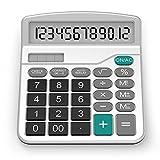 Taschenrechner, Splaks 12-stellig Standard Function Tischrechner Bürorechner Rechenmaschine Solar- und AA Batterie betrieb Calculator mit großem Display Silver