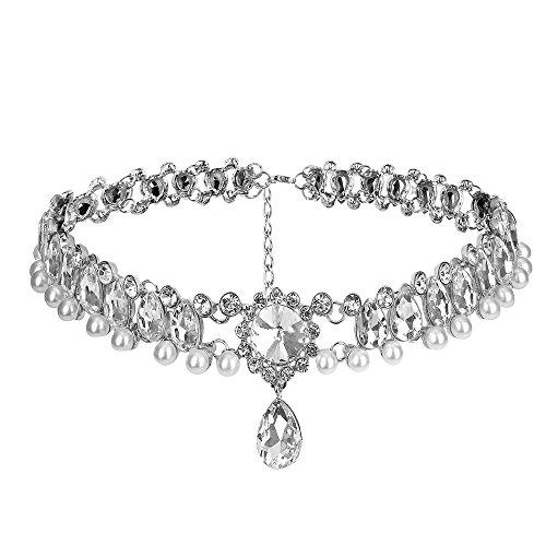 Contever® Jewelry-Collana Donne Girocollo Placcato con Cristalli e Perle Perline - Nonna Bracciale Perle D'argento Bracciale Perle