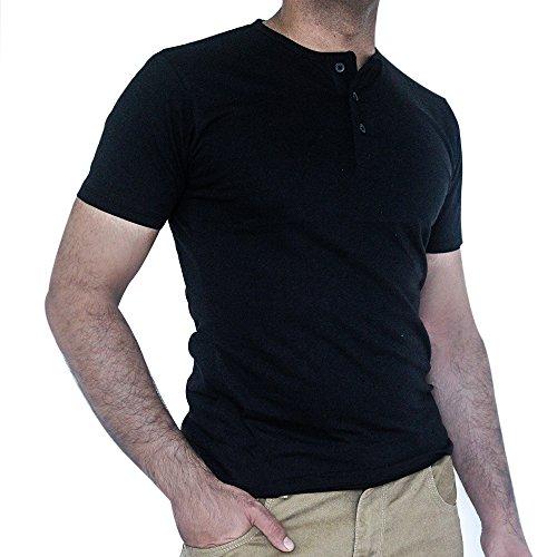 QZS Clothing Men's Round Neck Stylish Shirt Black