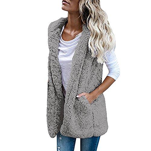 Damen Sleeveless Jacken Mantel Frauen Winter Wolle Pelz Kapuzenpullover Tasche Weste Mantel Casual Outwear (Grau, XL) (Pelz Taschen)
