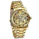 Jewelrywe Orologi Meccanici uomo, Display Oro,Pointer Oro ,Bracciale Argento in Acciaio Inossidabile