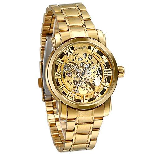 JewelryWe Herren Armbanduhr, Business Casual Skelett mechanische Mechanik Uhr mit Edelstahl Armband, Gold Farben - Geburtstag Kinder-goldenen