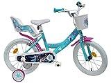 Disney Vélo 16' Fille Reine des Neiges Équipé de 2 Freins – 2 stabilisateurs avec Montage sans Outils – Transmission Monovitesse