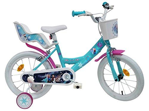 """Disney Vélo 16"""" Fille Reine des Neiges Équipé de 2 Freins – 2 stabilisateurs avec Montage sans Outils – Transmission Monovitesse"""