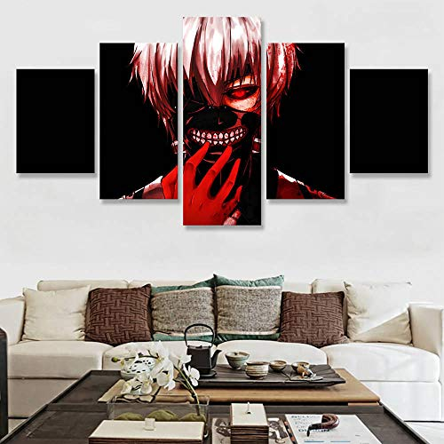 Mxsnow 5 Leinwanddrucke Rahmen Leinwand Gedruckt Poster Wohnkultur Tokyo Ghoul RE Ken Malerei Wandkunst Animation Bilder Drucke auf Leinwand