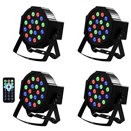 LED PAR Licht Fernbedienung 4 STÜCK 18X1W LED Lampe DMX Scheinwerfer Floorspot Stage Bühnenbeleuchtung DJ Party Fernbedienung Beleuchtung Lichteffekt