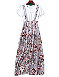 4cde8eef8311 Jeunes Robes de Femmes Blanc t-Shirt imprimé en Soie Split Robe Une étape  Slim Robe Boho Floral Rompers…