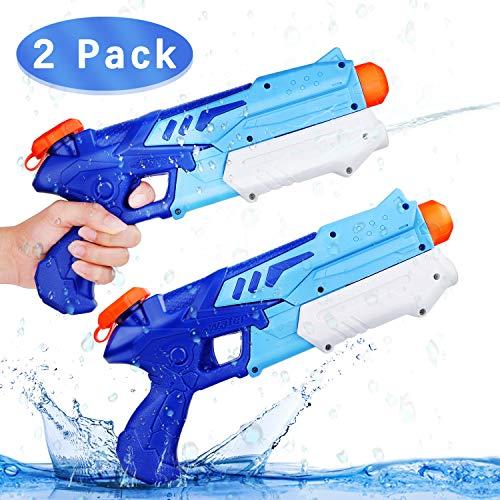 Ucradle Wasserpistole, 2er Set Water Gun Spielzeug für Kinder, 300ML Wasserpistolen mit 11 Meter Reichweite, Super Soaker Party Water Blaster Strand Sommer Pool Badespielzeug Strandspielzeug ab 6 Jahr
