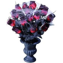 Flores de Halloween en un Jarrón de 15 Rosas + telarañas