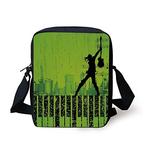 Popstar Party,Music in The City Theme Singer with Electric Guitar on Grunge Backdrop,Lime Green Black Print Kids Crossbody Messenger Bag Purse - Guitar Popstar