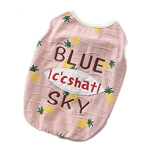 PZSSXDZW Haustierhundekostüm Sommer Freizeit Nette Welpenhaustierkleidung Baumwollweste Hundekleidung Teddy Kleidung,Pink,S