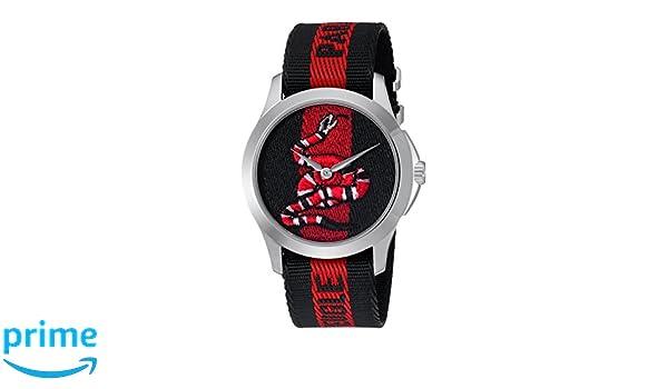 99a405b6846 Gucci Unisex-Adult Analogue Classic Quartz Watch with Nylon Strap YA126493   Amazon.co.uk  Watches