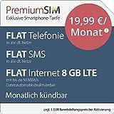 PremiumSIM LTE XL Allnet Flat [SIM, Micro-SIM und Nano-SIM] monatlich kündbar (FLAT Internet 8 GB LTE mit max. 50 MBit/s mit deaktivierbarer Datenautomatik, FLAT Telefonie, FLAT SMS und FLAT EU-Ausland, 19,99 Euro/Monat)