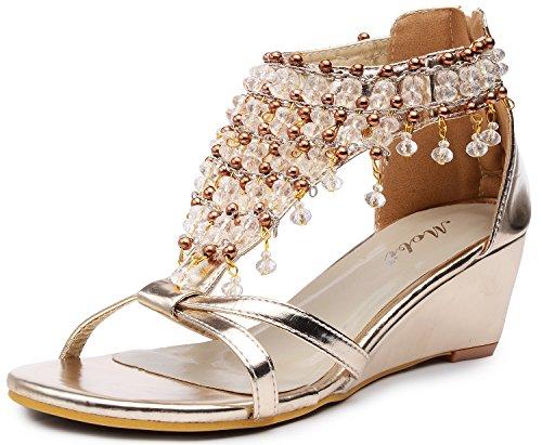 Odema donne Glitter strass in rilievo gladiatore zeppe sandali tacco alto Oro