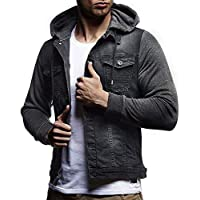 MOIKA Herren Jacke Ubergangsjacke Herbst Winter mit Kapuze Vintage Distressed Denim Jacke Tops Mantel Outwear preisvergleich bei billige-tabletten.eu