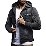IMJONO Clearance!Mens ' Herbst Winter Hooded Vintage notleidende Demin Jacke Tops Fell Outwear(Medium,Grau)