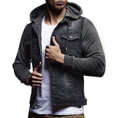 Preisvergleich Produktbild KUDICO Herren Hoodies Jacke Mantel Klassische Vintage Distressed Denims Outwear Cardigan Tops(Grau,  S)