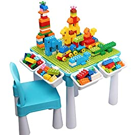 burgkidz Tavolo Multi-attività per Bambini 5 in 1 – 128 Pezzi di Grandi Blocchi di Costruzion