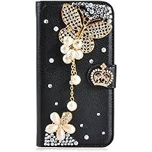 LG L Fino Funda, LG D295 Funda, Lifeturt [ mariposa negro ] Cubierta de la caja de cuero superior de la carpeta del libro para LG L Fino/D295