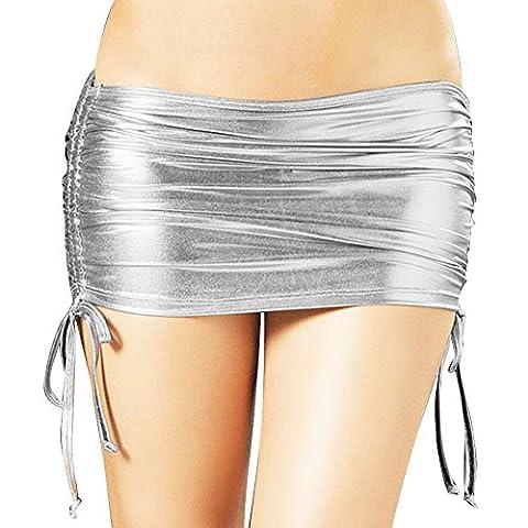 YiZYiF Damen Minirock Rock in Leder-Optik Wet-Look Rock Clubwear Gogo Reizwäsche Einheitsgröße Silber Einheitsgröße (Taille 72-92cm)