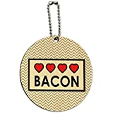 Bacon Love Round Wood ID Tag Luggage Card Suitcase Carry-On