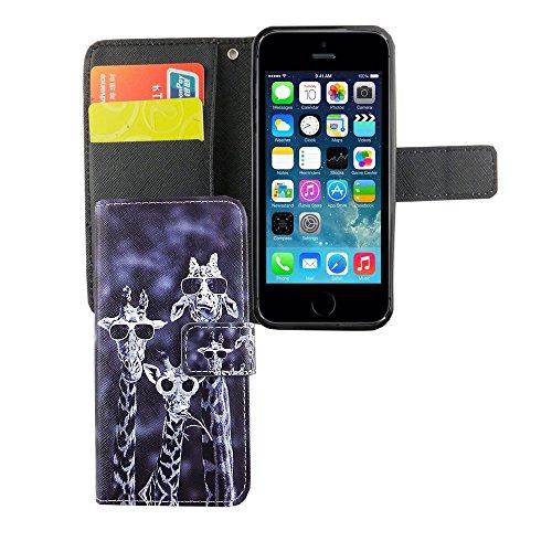 König-Shop - Handyhülle Schutz Tasche Case Cover Wallet Kunstleder 360 Grad Standfunktion, Farbe:Don't touch my Phone Grün, Größe:Apple iPhone 5 / 5s / SE Lustige Giraffen