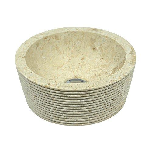 WOHNFREUDEN Marmor Waschbecken MINIJAYA 30 cm creme ✓ Naturstein Waschschale Handwaschbecken rund gehämmert für Bad Gäste WC ✓ inkl. techn. Zeichnung ✓ schnell & versandkostenfrei ✓