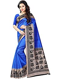 Women's Bhagalpuri Art Silk Traditional Saree Unstitched Blouse Design (BHAGALPURI SAREE 21 BLUE_Blue)